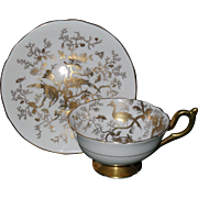 Coalport Cairo Gold on White Cockatrice Bird Teacup and Saucer