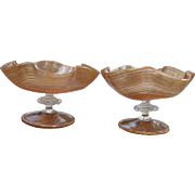 Delicate Pair of Gold and Copper Venetian Art Glass Aventurine Footed Dishes