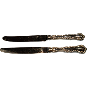 """Birks Regency Louis de France Silver Plate Luncheon Knives (2) 8 1/2"""""""