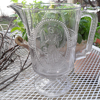 EAPG Richards & Hartley Pattern Glass Venus & Cupid Large Pitcher