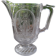 EAPG Richards & Hartley Pattern Glass Venus & Cupid Pitcher