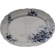 Antique Dark Blue and White Hancock & Son Staffordshire Pansy Meat Platter 16""