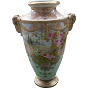 Gorgeous Nippon Pink Roses Lake Mountain Scene Gold Gilt Moriage Vase