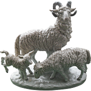 Vintage Carl Scheidig Grafenthal Germany Porcelain Ram Ewe Lamb Animal Figurine