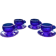 Vintage Mosser Lindsay Cobalt Blue Toy Doll Cups and Saucers (4)