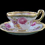 Antique E B Foley Summer Pink Rose Gold Gilt Flowers Teacup and Saucer