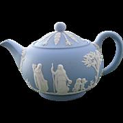 Vintage Blue Jasperware Mews Wedgwood Teapot 4 Cup