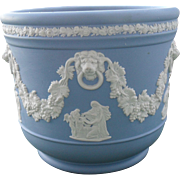 Vintage Blue Jasperware Mews Lions Heads Wedgwood Jardiniere Planter
