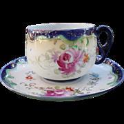 Vintage Royal Nippon Pink Roses Cobalt Gold Teacup and Saucer