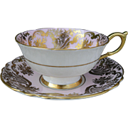 Stunning Paragon Double Warrant Pink and Gold Encrusted Floral Teacup and Saucer