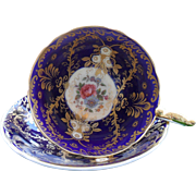 Commanding Aynsley 'Royalty' Floral Gold Encrusted Teacup and Saucer