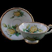 Beautiful Paragon Yellow Roses Teacup and Saucer