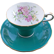Aynsley Forest Green Corset Shape Carnation Teacup and Saucer