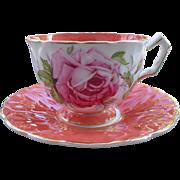 Vintage Aynsley Crocus Coral Pink Cabbage Rose Gold Teacup and Saucer