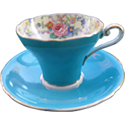 Vintage Aynsley Corset Shape Turquoise Floral Garland Teacup and Saucer