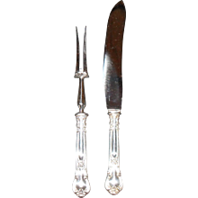 Antique Birks English Sterling Silver Chantilly Handles Carving Set