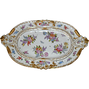 """Handpainted German Gold Encrusted Large 20"""" Floral Decorated Tray"""