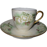 Pretty T & V Tresseman & Vogt  White Roses Demitasse Cup and Saucer