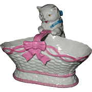 Antique Sitzendorf Germany Porcelain White Cat in Pink Basket