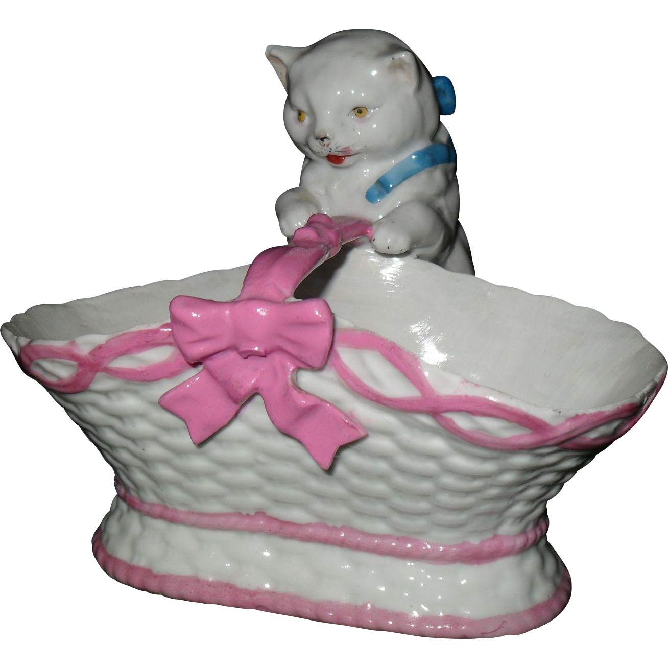 Antique Sitzendorf Germany Porcelain White Cat In Pink