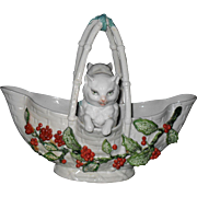 Vintage Signed France Holly and Berry Pair of Cats in a Porcelain Basket