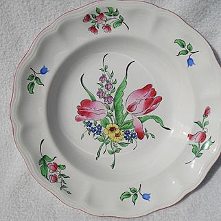 Keller & Guerin Luneville France Old Strasbourg Ca 1880 Rose Tulip Floral Rimmed Soup