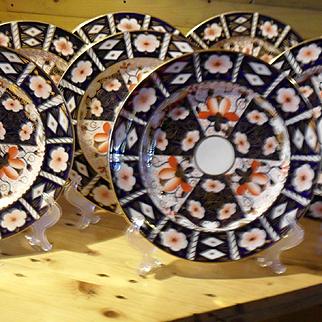 "Set of Eight Royal Crown Derby Imari 2451 Dinner Plates 10 5/8"""