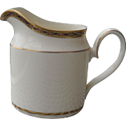 Minton — St James Pattern -- Pale Blue Ovals on Cobalt with Gold Creamer