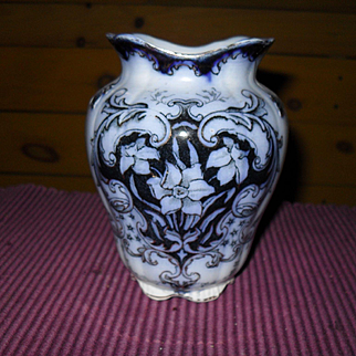 Antique Flow Blue Grimwades Staffordshire Rex Florals and Daffodils Toothbrush Holder 1886