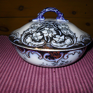 Antique Flow Blue Grimwades Staffordshire Rex Pattern Soap Dish Florals and Daffodils 1886