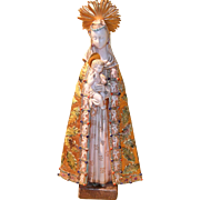 Large Signed Paolo Marioni Under Pattarino House Gilt Gold Virgin Mary and Child Statue Figurine