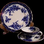 Antique Stanley Pottery England Flow Blue Touraine Pattern Teacup Saucer Plate Trio 1899