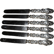 Six Whiting Gorham Sterling Silver Lily Pattern Knives 1902
