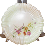 Antique Royal Worcester England Porcelain Blush Floral Ice Cream Plate 1895
