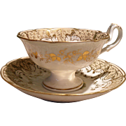 Outstanding Antique H & R Daniel England Hand Enameled Gilt Foliage Teacup and Saucer