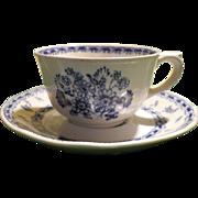 Arabia Finland Blue Finn Flowers Demitasse Espresso Cup and Saucer