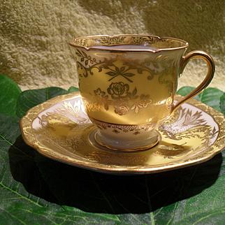 Charming Diminutive Noritake Yellow Gold Encrusted Demitasse Cup and Saucer