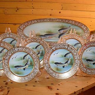 Exquisite Rare Antique HP Morimura Bros Moriage Nippon Fish Platter and 8 Matching Plates