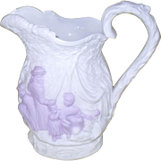 Antique Samuel Alcock Parianware Lavender White Witches Cauldron Gypsy Pitcher