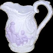 Antique Samuel Alcock Parianware Lavender White Witches Cauldron Gypsy Pitcher