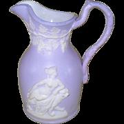 Antique Samuel Alcock Parianware Lavender White Goddess Lion Pitcher