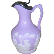 Antique Samuel Alcock Parianware Lavender White Gods and Goddess Pitcher