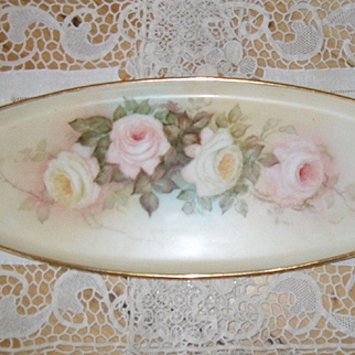 Antique Coiffe Limoges HP Platter Tray Signed Pink Yellow Roses