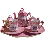 Antique German Moulded Pansy Pink Lustre Toy Dolls Tea Service
