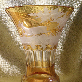 Antique Bohemian Amber Flashed Cut to Clear Trumpet Shaped Running Deer Vase