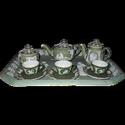 Rare Antique Wedgwood Green Jasper ware Jasperware Childs Toy Tea Set