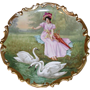 Antique HP French Limoges Gold Lady Swans Charger Plate Signed Dubois