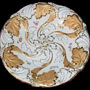 Exquisite Meissen Gold Gilt Round Bowl Floral Raised Detail