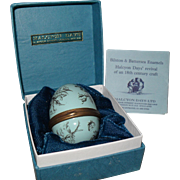 Halcyon Days Bilston and Battersea Enamel Egg Toile Blue Pill Box with Box and COA