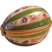 Limoges DuBarry Frances Porcelain Floral Egg Green Gold Pill Trinket Box